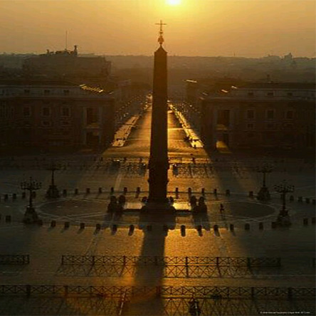 On the spring Equinox the sun causes the shadow of the egyptian obelisk, representing the sun god, to fall on the dome of St. Peter's Basilica, representing the womb of the moon goddess, which symbolizes their annual sexual union