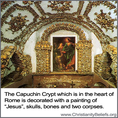 The Capuchin Crypt which is in the heart of Rome is decorated with a painting of Jesus, skulls, bones and two corpses