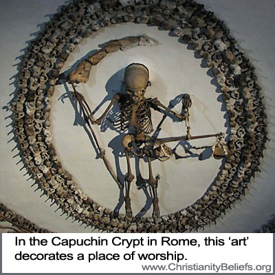 The Capuchin Crypt in Rome is decorated with bones and skulls
