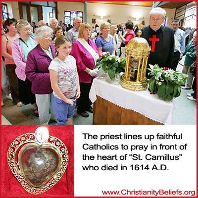 The priest lins up faithful Catholics to pray to the heart of St. Camillus
