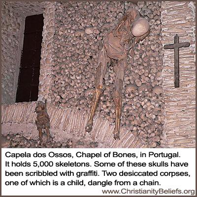 Capela dos Ossos Chapel of Bones in Portugal has 5,000 skeletons