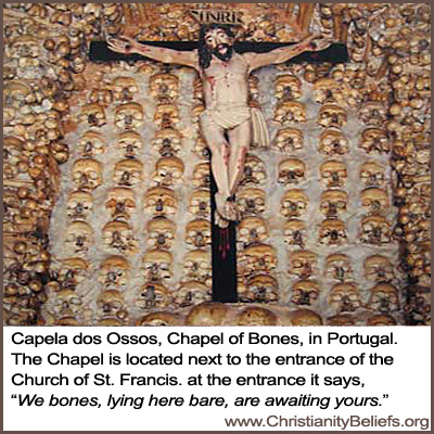 Capela Dos Ossos Chapel of Bones in Portugal next to Church of St. Francis