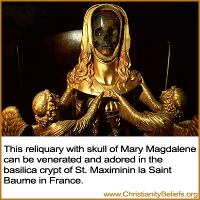 This reliquary with skull of Mary Magdelene can be venerated and adored in the basilica crypt of St. Maximinin la Saint Baume in France