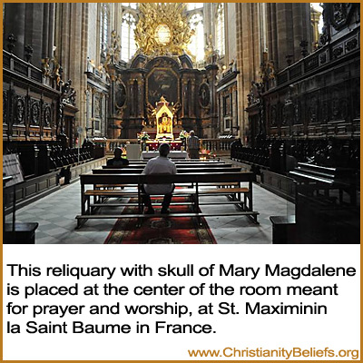 This reliquary with skull of Mary Magdelene in the basilica crypt of St. Maximinin la Saint Baume in France