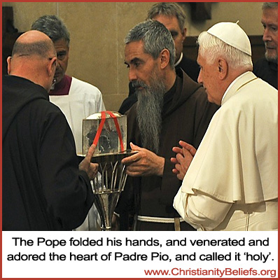 Pope Benedict venerated the heart of Padre Pio