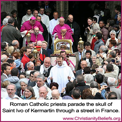 Roman Catholic priests parade the skull of Saint Ivo of Kermartin in France