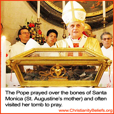 Pope Benedict prayed over the bones of Santa Monica and often visited her tomb to pray