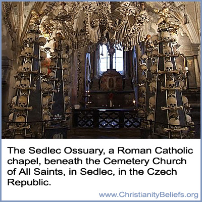 The Sedlec Ossuary, a Roman Catholic Chapel beneath the Cemetery Church of All Saints in Sedlec in the Czech Republic
