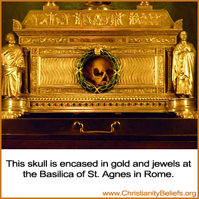 This skull is encased in gold and jewels at the Basilica of St. Agnes in Rome