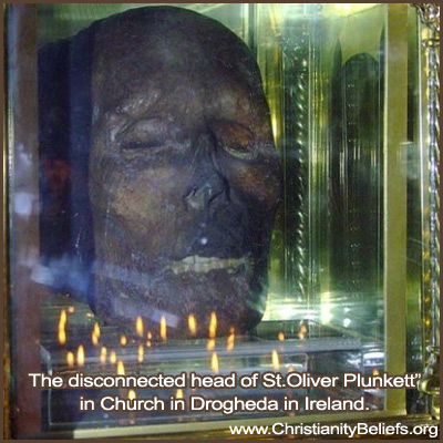 The head of St. Oliver Plunkett in the Church in Drogheda in Ireland