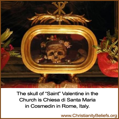The skull of St. Valentine in the Church is Chiesa di Santa Maria in Rome, Italy