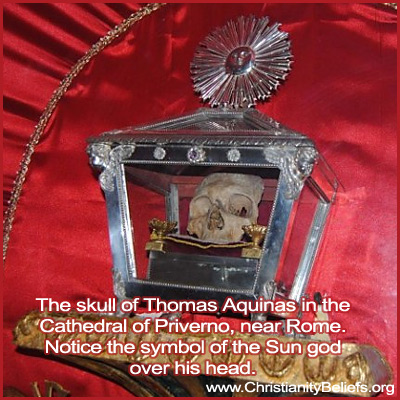 The skull of Thomas Aquinas in the Cathedral of Privemo, near Rome
